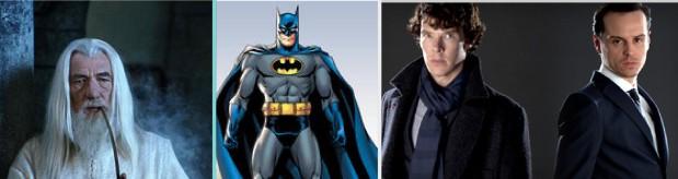 A Few Fictional INTJs. Left to Right: Gandalf, Batman, Sherlock and Professor Moriarty (go watch Sherlock on Netflix its awesome)